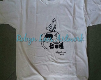 Sabre tooth rabbit skull with bow tie design t-shirt