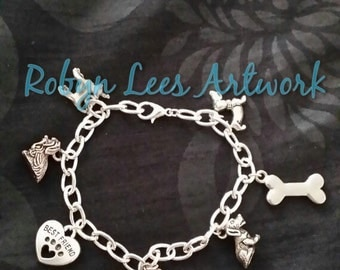 Silver Dog Lovers' Charm Bracelet with Dachshund, Labrador, Yorkshire Terrier (Yorkie), Chihuahua, Bone & Best Friend Heart with Paw Print