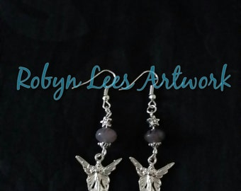 Silver Guardian Angel Earrings with Amethyst Striped Czech Glass Donut Beads and Silver Stars