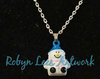 Small Snowman Bell Christmas Necklace on Silver Chain or Black Faux Suede Cord