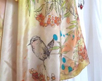 Silk scarf handpainted. Silk scarf square Rowanberries Birds scarf. Autumn scarf. Art Wearable. Brown Beige silk scarf. Mother of groom gift