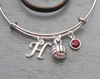 Volleyball Bracelet, Personalized Volleyball Bangle, Letter Birthstone, Silver Volleyball, Gifts for Girl Volleyball Player, Volleyball