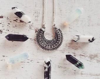 Ethnic necklace Miao tibetan silver pendant boho