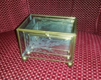 Trio Etched Glass and Brass Footed Nesting Boxes