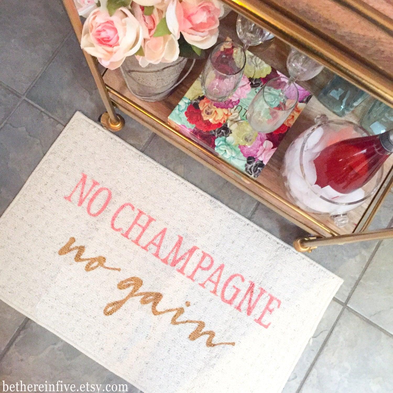 No Champagne No Gain Decorative Kitchen Mat Funny Kitchen