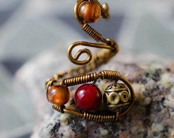 "Wire Ring - ""Autumn Allure"" - Adjustable - Gemstone Ring"