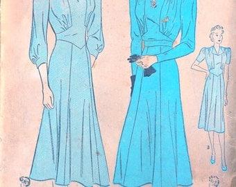 Vintage 1940s Dress Pattern, Uncut, Advance 2158, Size 20, Bust 38