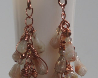 Hand Wrapped Copper and Stone Dangle Earrings