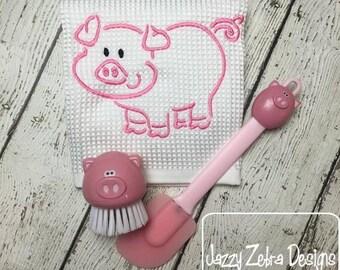 Pig Satin Stitch Outline Embroidery Design - farm Embroidery Design - pig Embroidery Design - piggy embroidery design