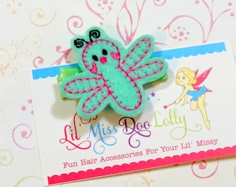Embroidered Felt Clippie- Dragonfly Feltie Clippie-DragonflyHair Clippie- Bug Feltie Barrette- Mint and Pink (Set of 1)