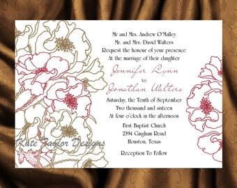 Flower Wedding Invitation & RSVP  - Floral Wedding Invitation and RSVP -  Wedding Invitation, Marsala and Gold- Flower Design 4