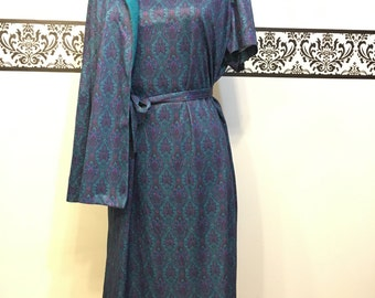 1960's Rockabilly Shirt Dress & Jacket by Nancy II Petite , Plus Size 14 , Vintage Purple and Teal Pin Up Dress, 60s Mad Men Hipster Dress