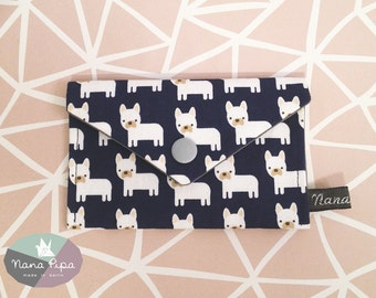Purse / Business Card Holder / Credit Card Holder: Dark Blue Fabric With French Bullys