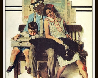 "Norman Rockwell Art Print, 8.5"" x 11"", Family Home From Vacation, Collectible 1930 Artwork, Vintage Book Page Illustration"