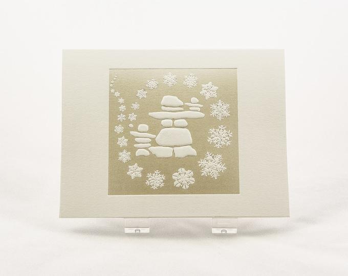 Snowflakes Holiday Card. White Christmas card. Letterpress.  Single card. Blank inside.
