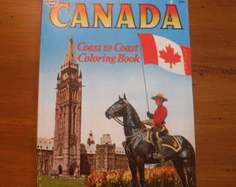 Vintage 1960's Canada Coloring Book - Early 1960's Child's Coloring Book - Samuel Lowe Canadian Landmarks R.C.M.P. Coloring Children's Book