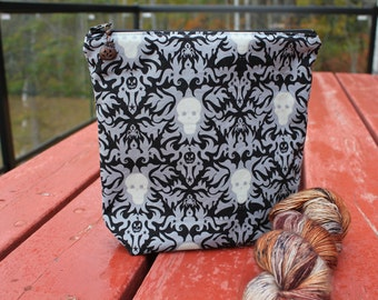 REDUCED Halloween Damask Hand Sewn Knitting Project Bag Halloween Fabric Small Sized Zipper Bag Glow In The Dark Fabric