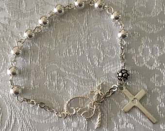 RB024 Sterling Silver Rosary Bracelet
