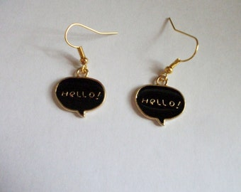 Hello speech bubble earrings