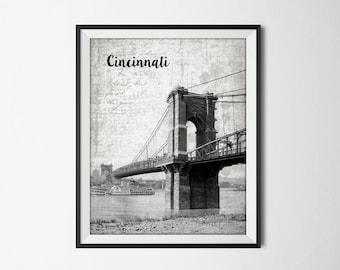 Covington and Cincinnati Suspension Bridge Print - Roebling Bridge Poster - Cincinnati Ohio - Covington Kentucky - Ohio River United States