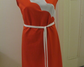 Vintage 60s 70s Red White Mod Dress Sz Aus 10 12 US 6 8