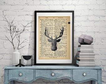Polygon Deer - Vintage Dictionary Page Art Print