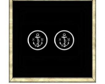 Custom Anchor Cufflinks- Silver Plated Cufflinks