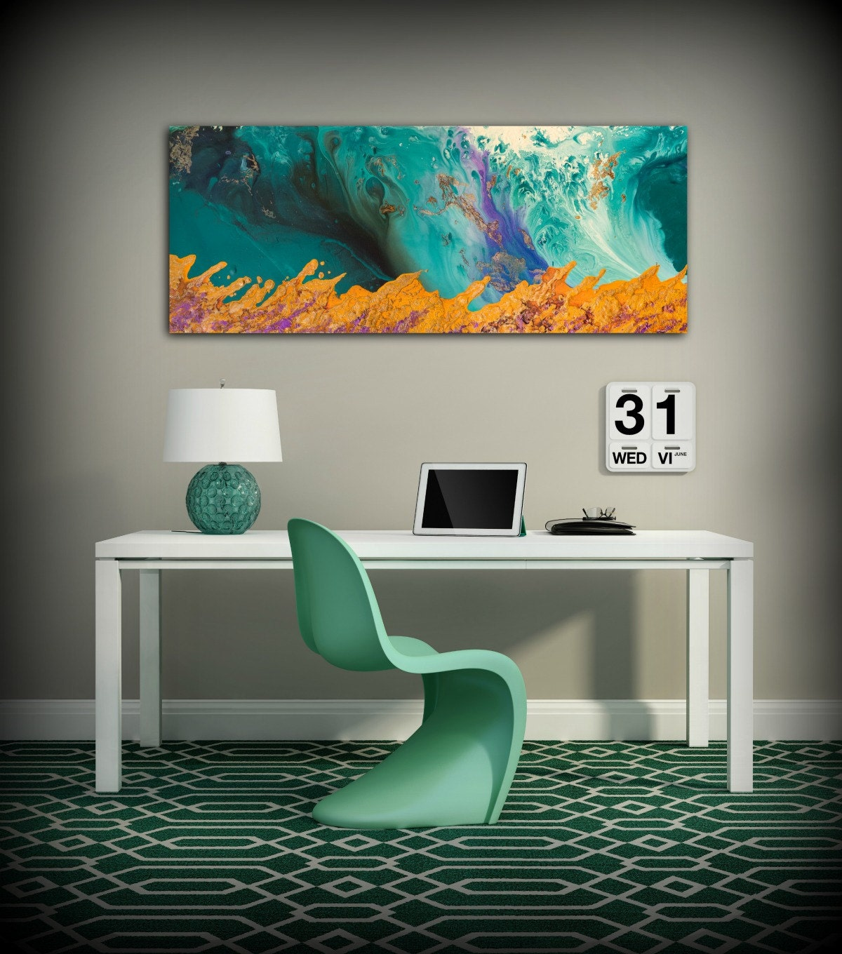 canvas print wall decor large abstract wall art teal and orange modern art office wall decor. Black Bedroom Furniture Sets. Home Design Ideas