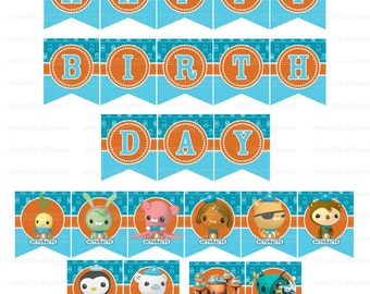 Printable Happy Birthday Octonauts Themed Banner DIY Printable Instant Download Bunting Sign Banner Pennant