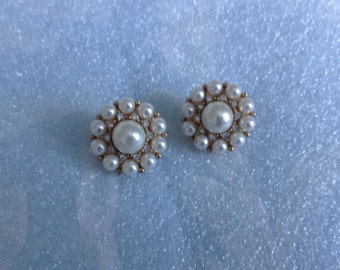 Faux Pearl Circlet Earrings - clip on
