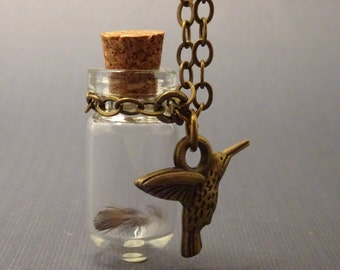 Iridescent Hummingbird Feather Necklace with Charm, Glass Vial with Cork, # 2016