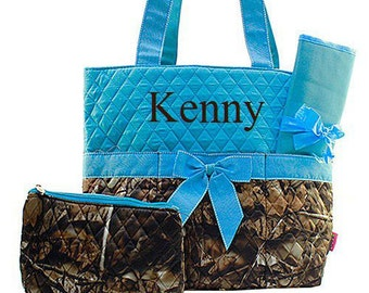 Personalized Turquoise Camo Diaper Bag Diaper Bag Monogrammed Diaper Bag  Personalized Diaper Bag