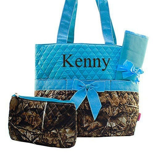 personalized turquoise camo diaper bag diaper bag monogrammed. Black Bedroom Furniture Sets. Home Design Ideas