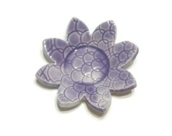 lilac lace patterned trivet - spoon rest - incense holder - purple dish