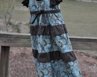 Girls Turquoise and Brown Ruffled Tiered Twirl Jumper- {Sizes 3-6mos, 12-18mos, 2T, 3T, 4T, 5, 6, 7, 8, 10, and 12 Girls}