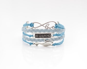 Love Infinity Best Friend Cat Turquoise Light Blue Cord Bracelet