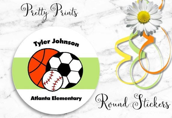 Sports Stickers - Personalized Stickers - Sports Labels - Set of 12 Round Labels - Custom Labels, Tags, Personalized Labels, Gift Tags