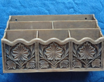 Vintage 1970's Lerner Desk Organizer  Molded Brown Plastic Faux Carved Wood