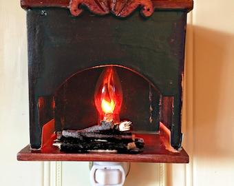 Custom Nightlight, Miniature Country Style Fireplace Nightlight, Wooden Nightlight