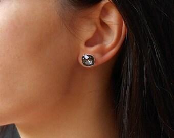 Stud earrings, Crystal stud earrings, Sterling silver earrings