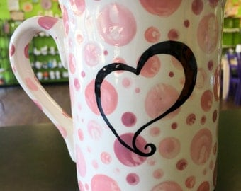 Hand Painted Heart Dot Mug