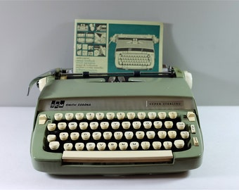 Vintage Smith Corona Super Sterling typewriter / Vintage typewriter / khaki Super Sterling Corona typewiter working condition
