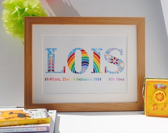 Bespoke papercut – New baby gift – monogram – personalised name paper cut – initial art – wall art –gift for baby – Christening – birthday