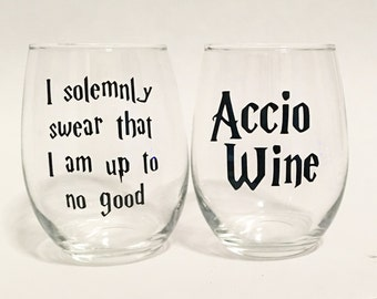 Set of 2 - Accio Wine & I Solemnly Swear That I Am Up To No Good Harry Potter Inspired Stemless Wine Glass - Black