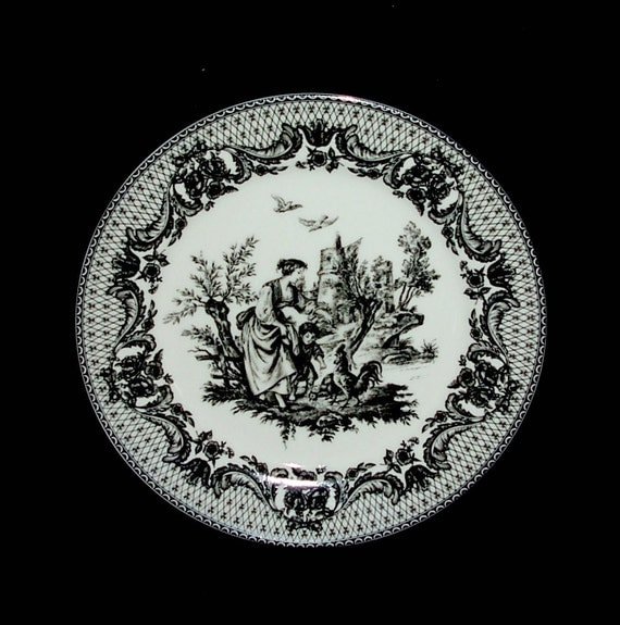 decorative plate elite decor toile black white french. Black Bedroom Furniture Sets. Home Design Ideas