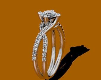 Platinum Ring Sapphire Engagement Ring Diamond Ring Platinum Engagement Ring Unique Engagement Rings Bridal Jewellery Fine Jewelry - V1007