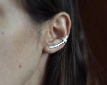 Sterling silver ear cuff, silver ear pin, sterling silver ear climber, minimalist earring