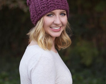 hand crocheted slouchy hat || fig || choose your color