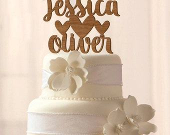 Wood Custom Names with hearts cake topper