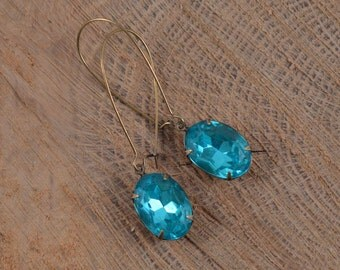 Faceted Aquamarine Glass Teardrop Brass Earrings, Glass Teardrop Earrings, Brass Dangle Earrings